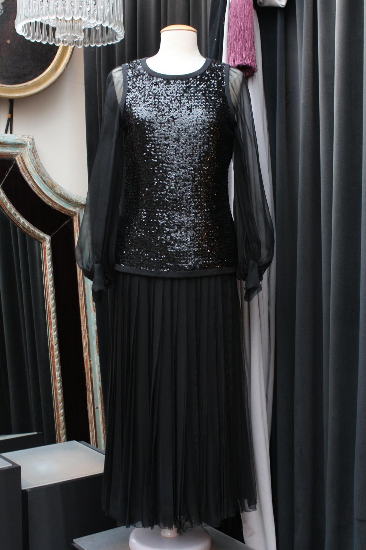 Ensemble noir en mousseline de soie et paillettes Yves Saint Laurent Haute Couture 1 300,00 €