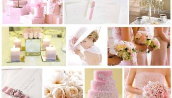 Tableau mariage rose et blanc